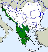 rozšíření užovky pardálí na Balkáně (zeleně)
