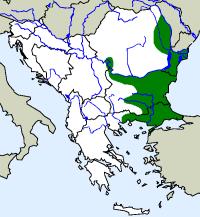 rozšíření užovky sarmantské Elaphe sauromates na Balkáně (zeleně)