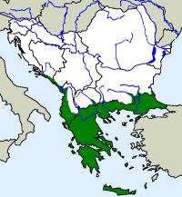 rozšíření želvy kaspické na Balkáně (zeleně)