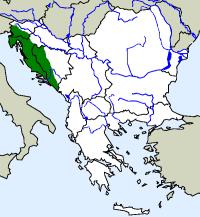 rozšíření macaráta jeskynního Proteus anguinus na Balkáně (zeleně)