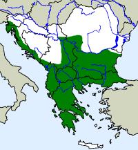 rozšíření želvy zelenavé Testudo hermanni  na Balkáně (zeleně)