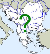 rozšíření želvy nádherné na Balkáně (zeleně)