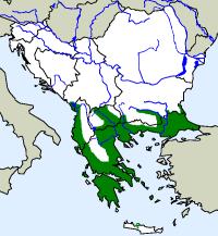 rozšíření slepáka nažloutlého Typhlops vermicularis na Balkáně (zeleně)