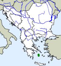 rozšíření zmije milóské Macrovipera schweizeri na Balkáně (zeleně)