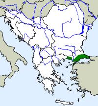 rozšíření zmije turecké na Balkáně (zeleně)